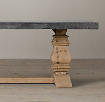 Salvaged Wood & Concrete Trestle Rectangular Dining Table