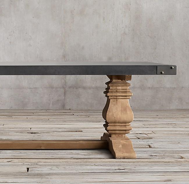 A Celebration Of Concrete: Salvaged Wood & Concrete Trestle Rectangular Dining Table