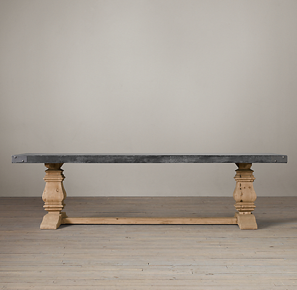 Salvaged Wood Amp Concrete Trestle Rectangular Dining Table