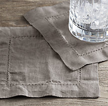 Stonewashed Belgian Linen Hemstitch Cocktail Napkins (Set of 4)