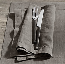 Stonewashed Belgian Linen Hemstitch Dinner Napkins (Set of 4)