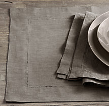 Stonewashed Belgian Linen Hemstitch Placemats (Set of 4)