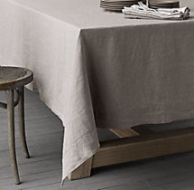 Stonewashed Belgian Linen Hemstitch Tablecloth