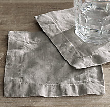 Stonewashed Belgian Linen Cocktail Napkins (Set of 4)