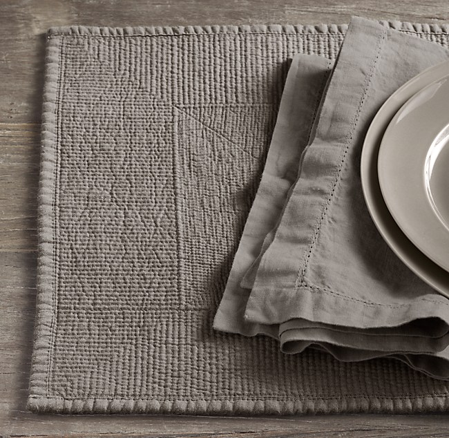 Stonewashed Belgian Linen Quilted Placemats Set Of 4