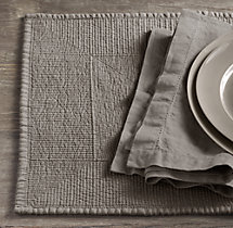 Stonewashed Belgian Linen Quilted Placemats (Set of 4)