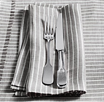 European Stripe Linen Dinner Napkins (Set of 4)