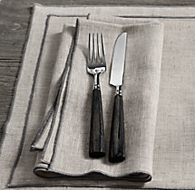 European Textured Linen Satin Stitch Dinner Napkins (Set of 4)