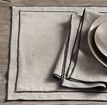 European Textured Linen Satin Stitch Placemats (Set of 4)