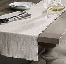 European Textured Linen Satin Stitch Runner