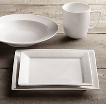 Chinese Porcelain Square-Rimmed 16-Piece Dinnerware Set with Grand-Rimmed Soup Bowl