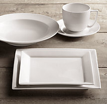 Chinese Porcelain Square-Rimmed 20-Piece Dinnerware Set with Grand-Rimmed Soup Bowl