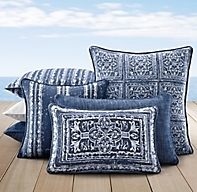 Rh Modern Pillows : Perennials Corsica Outdoor Pillow Cover - Royal Blue