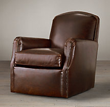 Keaton Leather Club Swivel Chair