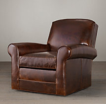 Lowell Leather Club Swivel Chair