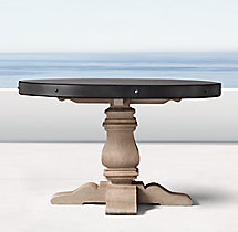 English Trestle Concrete & Teak Round Dining Table