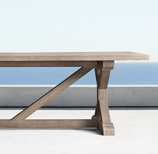 Belgian Trestle Teak Rectangular Dining Table