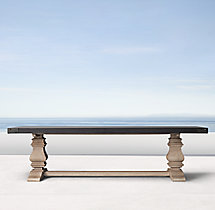 English Trestle Concrete & Teak Rectangular Dining Table
