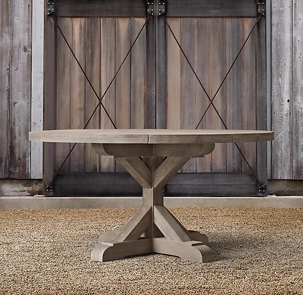 Belgian Trestle Teak Round Dining Table