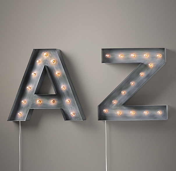 "Vintage Illuminated Marquee Letters & Numbers - 5½""-29½""W x 4""D x 22 ..."
