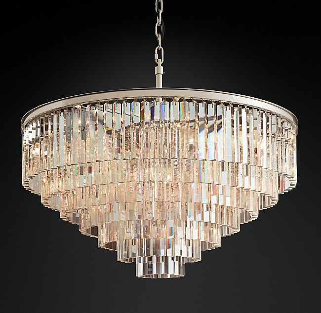 1920s Odeon Clear Glass Fringe 7 Tier Chandelier
