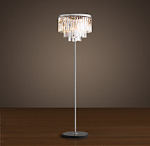 1920s Odeon Clear Glass Fringe Floor Lamp