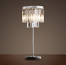 1920s Odeon Clear Glass Fringe Table Lamp