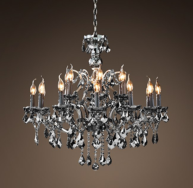 19th c rococo iron smoke crystal round chandelier 32 aloadofball Image collections