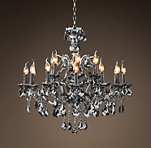 19th C. Rococo Iron & Smoke Crystal Round Chandelier 32""