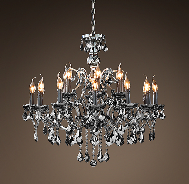 19th C Rococo Iron Smoke Crystal Round Chandelier 32