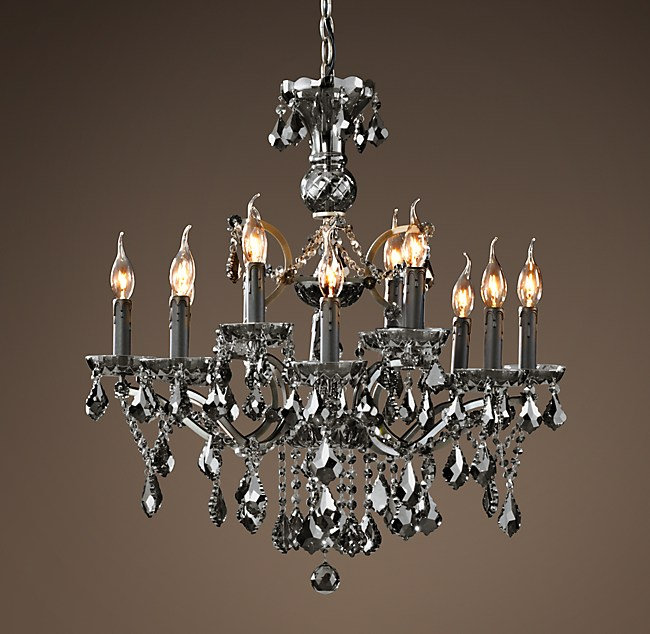 19th C Rococo Iron Smoke Crystal Round Chandelier 28