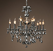 19th C. Rococo Iron & Smoke Crystal Round Chandelier 26""