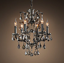 19th C. Rococo Iron & Smoke Crystal Round Chandelier 18""