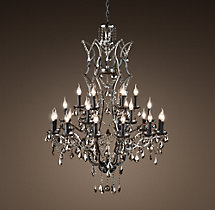 19th C. Rococo Iron & Smoke Crystal Round Chandelier 41""
