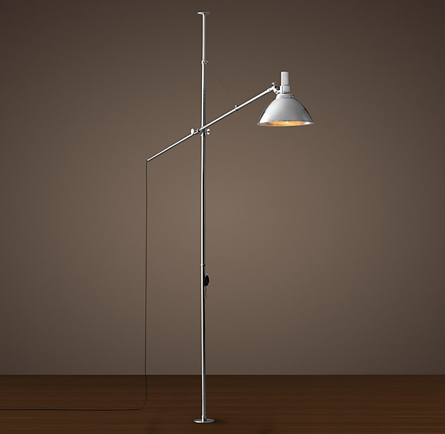 French factory boom floor lamp polished nickel aloadofball Image collections