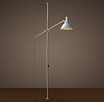 French Factory Boom Floor Lamp - Polished Nickel