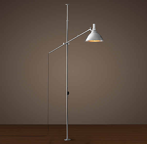 French Factory Boom Floor Lamp Polished Nickel