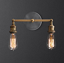 20th C. Factory Filament Bare Bulb Double Sconce