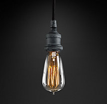 20th C. Factory Filament Bare Bulb Single Pendant