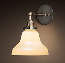 20th C. Factory Filament Milk Glass Boulangerie Sconce