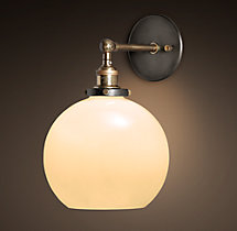 20th C. Factory Filament Milk Glass Café Sconce