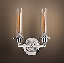 Edison Glass Double Sconce