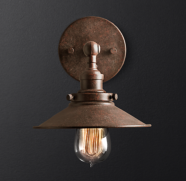 20th C Factory Filament Metal Sconce