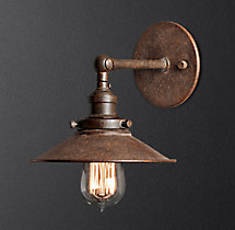 20th C. Factory Filament Metal Sconce