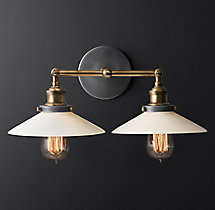 20th C. Factory Filament Milk Glass Double Sconce