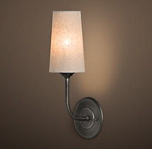 Modern Taper Sconce with Linen Shade