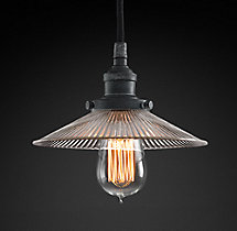 20th C. Factory Filament Ribbed Glass Single Pendant