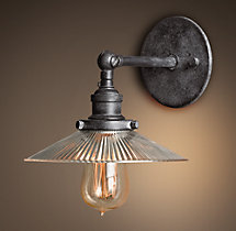 20th C. Factory Filament Ribbed Glass Sconce