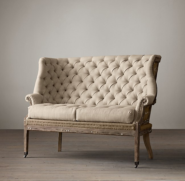 Deconstructed 19th C English Wing Settee