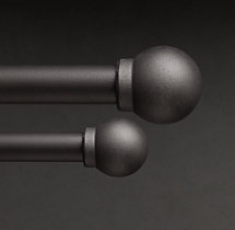 Industrial Hand-Forged Smooth Ball Finials (Set of 2) - Blackened Iron